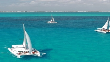 Isla Mujeres on Catamaran